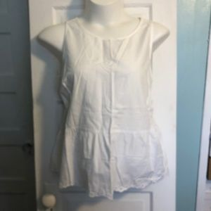 Eyelet Hem White Cotton Old Navy Peplum Tank XXL